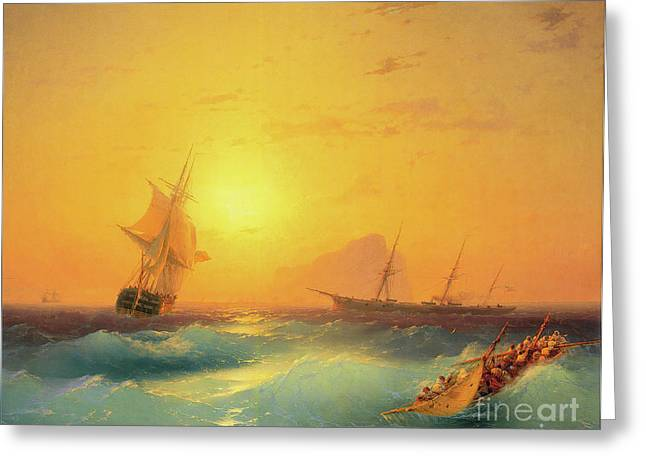 American Shipping Off The Rock Of Gibraltar Greeting Card