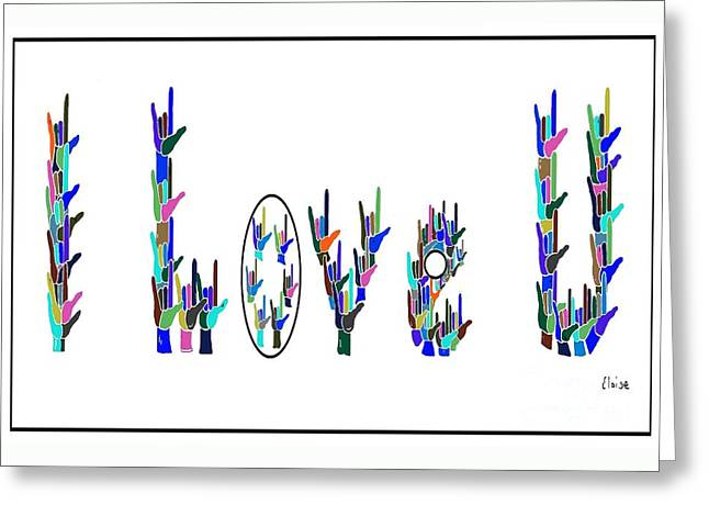 American Sign Language I Love You On White Greeting Card