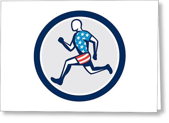 American Sprinter Runner Running Side View Retro Greeting Card