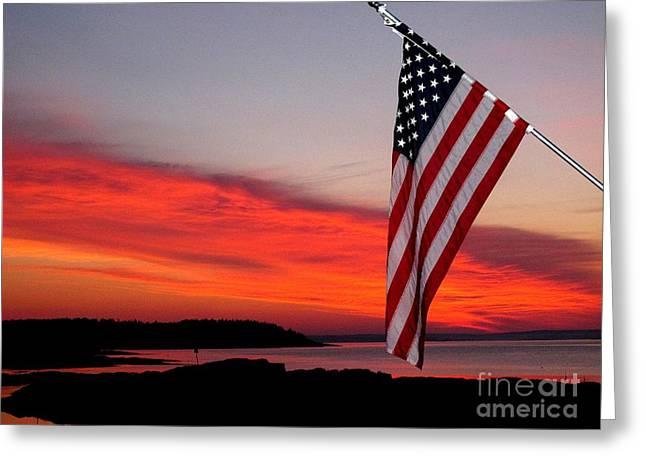 American Sunrise Greeting Card by Donnie Freeman