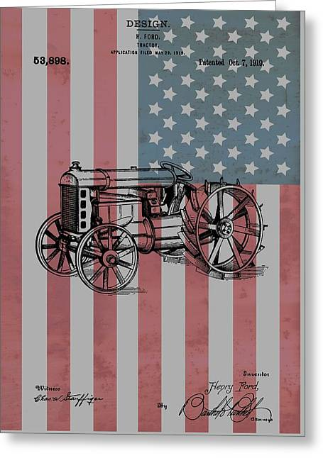 American Tractor Greeting Card by Dan Sproul