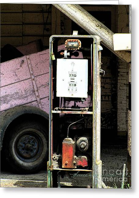 American Vintage Gas Pump Greeting Card by Glenna McRae