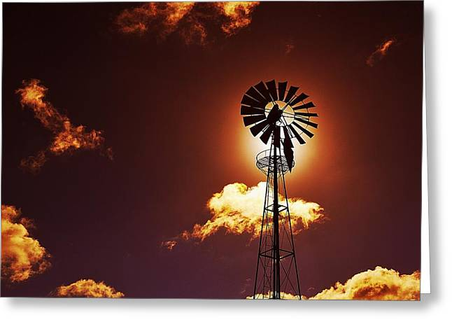 American Windmill Greeting Card by Marco Oliveira