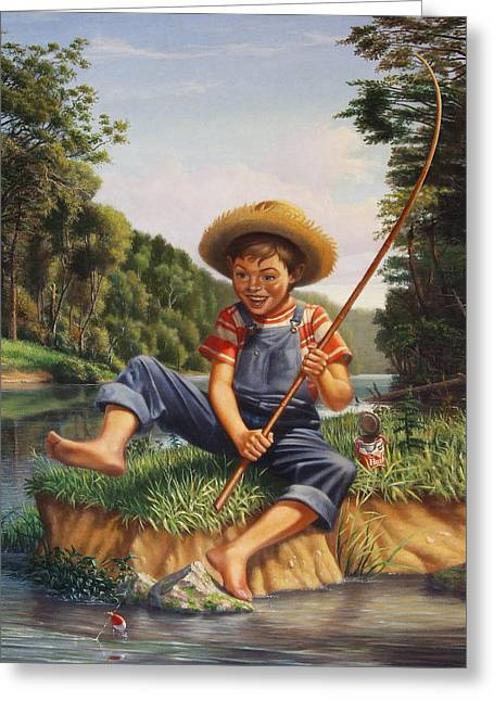 Americana - Country Boy Fishing In River Landscape - Square Format Image Greeting Card by Walt Curlee