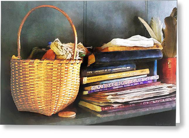 Americana - Books Basket And Quills Greeting Card