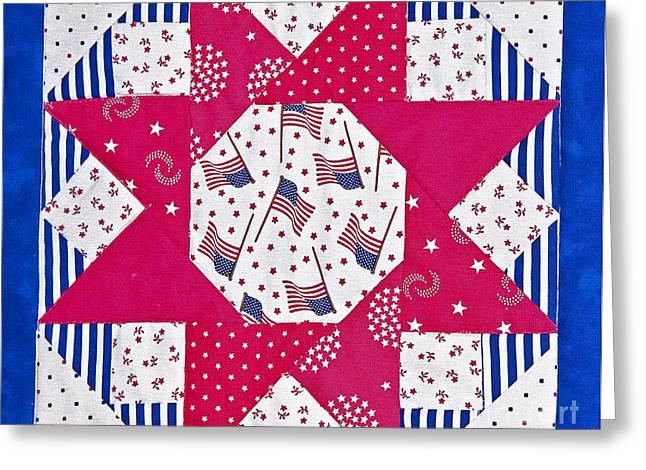 Americana Quilt Block Design Art Prints Greeting Card