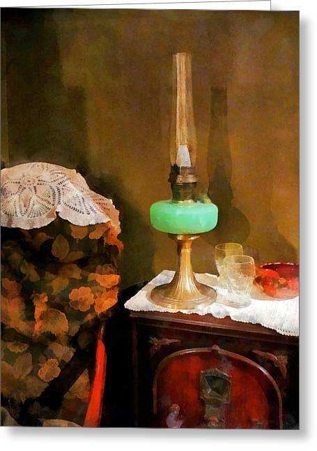 Americana - Still Life With Hurricane Lamp Greeting Card