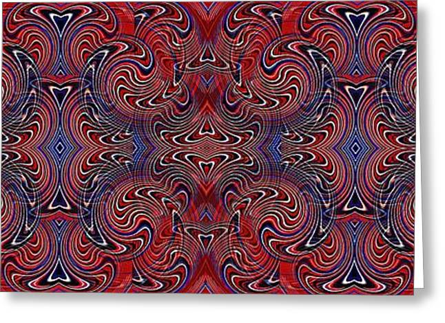 Americana Swirl Banner 3 Greeting Card by Sarah Loft