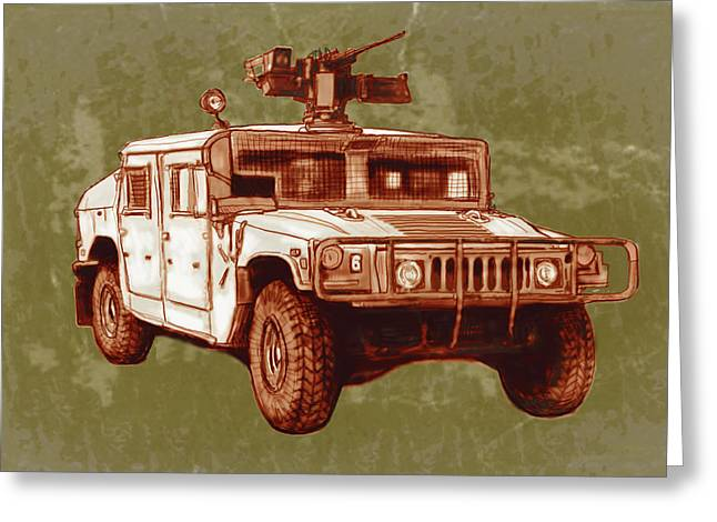 American's New Army Car - Hummer Stylised Art Sketch Poster Greeting Card by Kim Wang