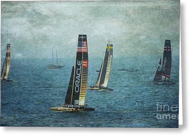 Americas Cup Racing - Oracle Greeting Card by Scott Cameron
