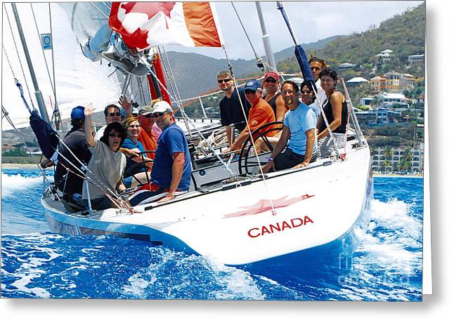 Americas Cup Racing At St. Martin Greeting Card