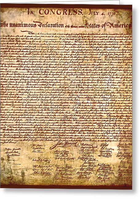 America's Declaration Of Independence  Greeting Card by Li   van Saathoff