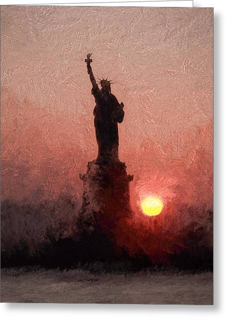 Sunset On Liberty Greeting Card by Ike Krieger