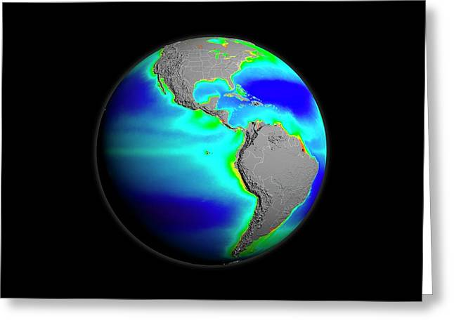 Americas Phytoplankton Levels Greeting Card by Nasa/gsfc-svs/seawifs/geoeye