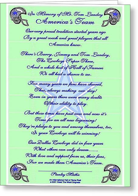 America's Team Poetry Art Poster Greeting Card by Stanley Mathis