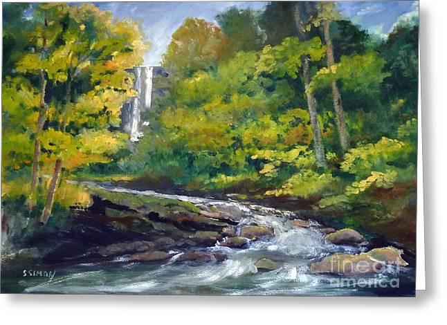 Amicalola Falls Painting Greeting Card by Sally Simon