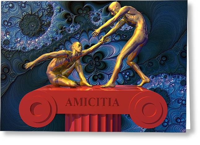 Amicitia Greeting Card by Walter Oliver Neal