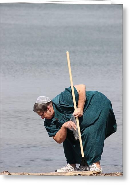 Amish At The Beach Greeting Card by Amanda Just