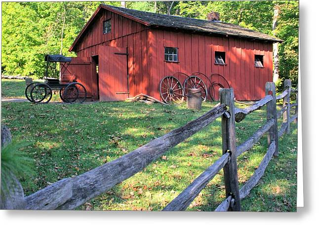 Amish Barn Along A Fenceline Greeting Card by Gordon Elwell