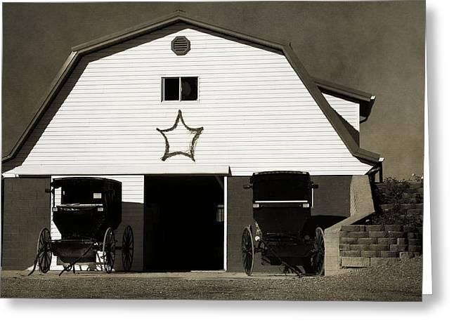 Amish Barn And Buggies Greeting Card