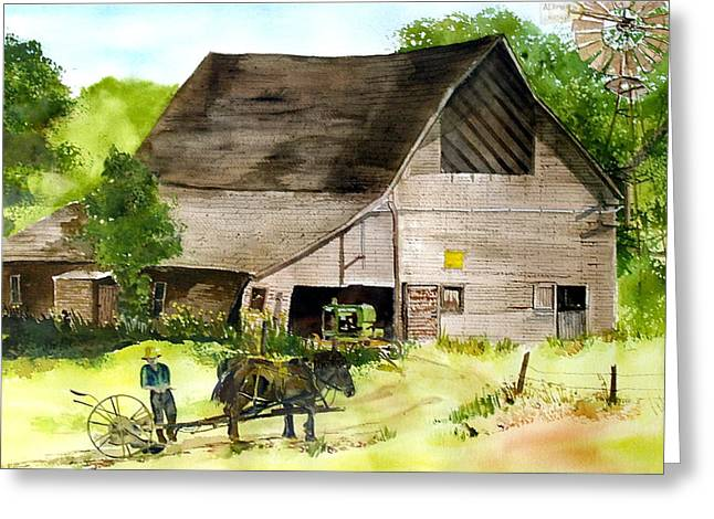 Amish Barn Greeting Card by Susan Crossman Buscho