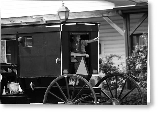 Amish Boy Waving In Horse And Buggy Greeting Card by Dan Sproul