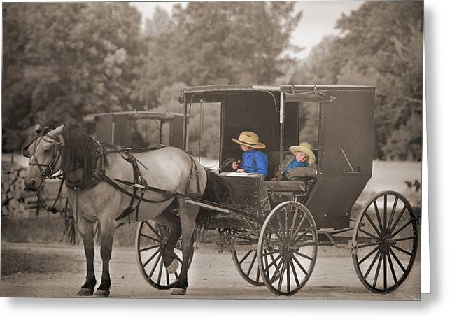 Amish Boys Greeting Card by Steven  Michael