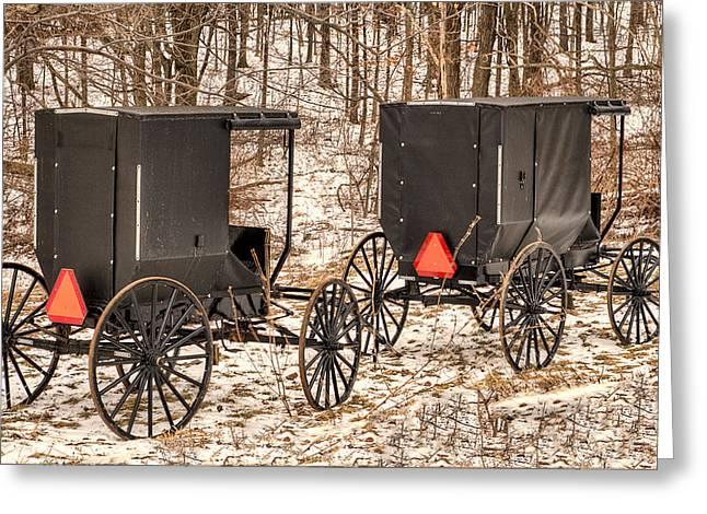 Amish Buggies Greeting Card by Joe Granita