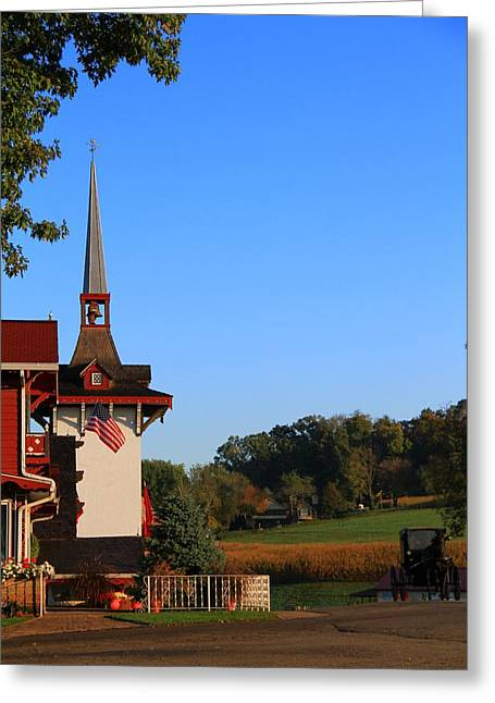 Amish Buggy And Church Greeting Card by Dan Sproul