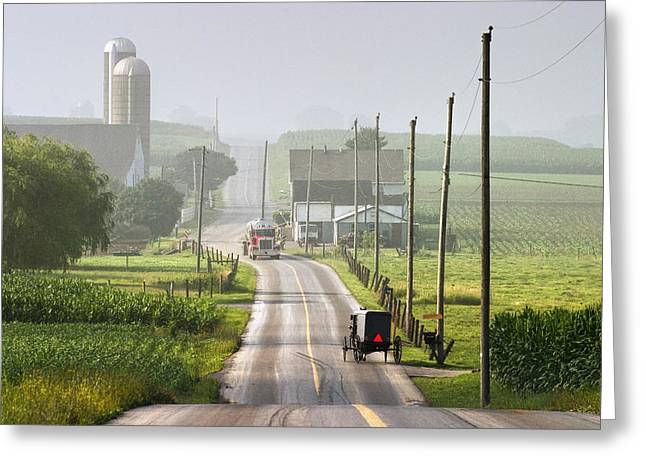 Amish Buggy Confronts The Modern World Greeting Card by Randall Nyhof
