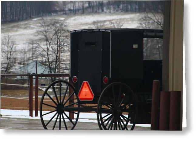 Amish Buggy In Winter Greeting Card by Dan Sproul