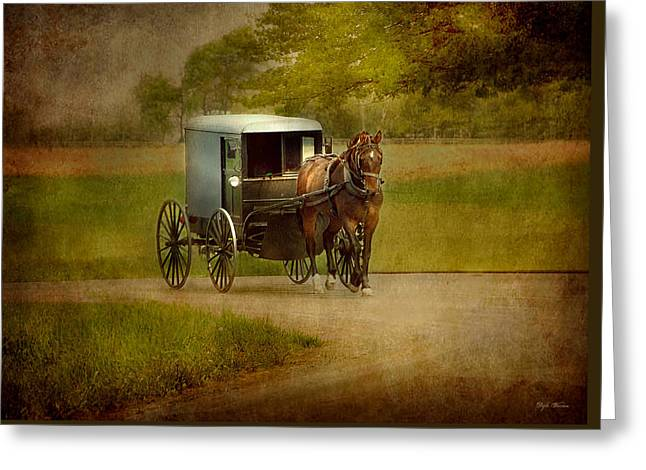 Greeting Card featuring the photograph Amish Buggy Ride by Dyle   Warren