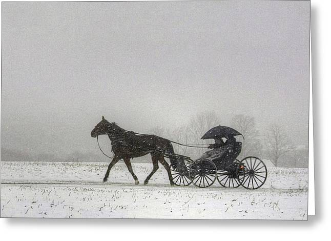 Amish Buggy Ride In The Snow Greeting Card