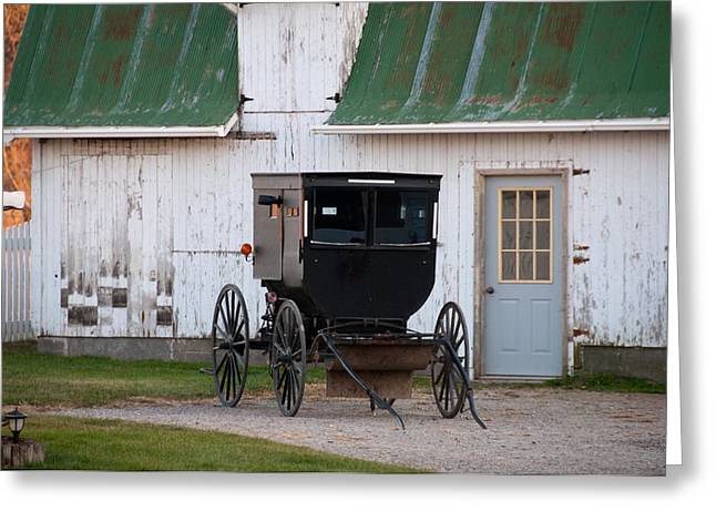 Amish Buggy White Barn Greeting Card