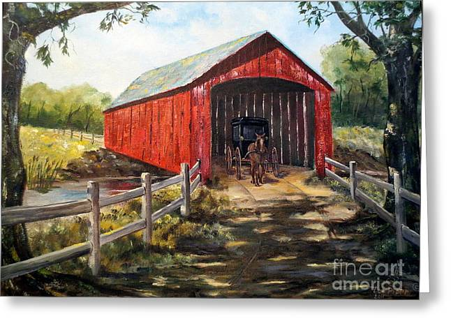Amish Country Greeting Card by Lee Piper