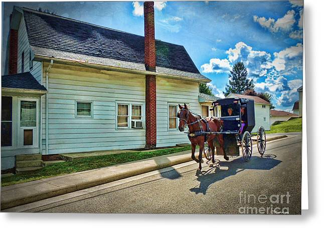 Amish Country Ride Greeting Card by Joan  Minchak