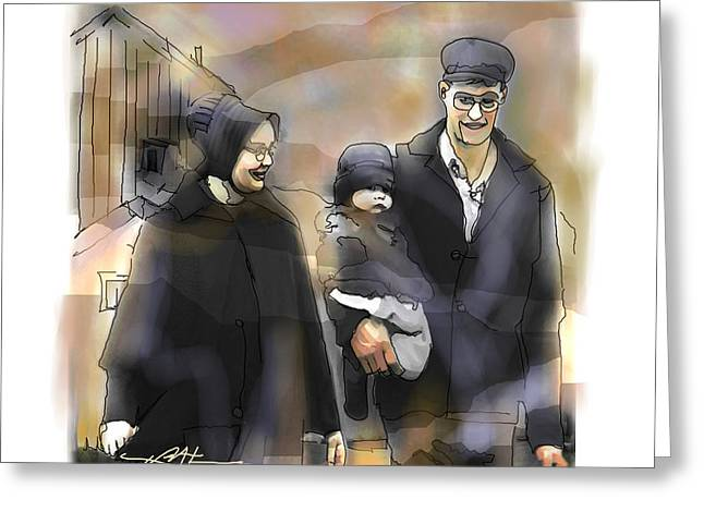 Amish Family Greeting Card by Bob Salo