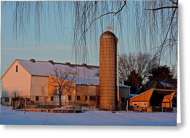Amish Farm At Turquoise Dusk Greeting Card