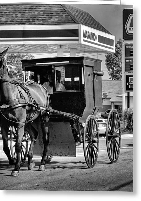 Amish Gas Greeting Card by Dan Sproul
