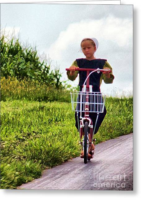 Amish Girl Scooting In Lancaster Pennsylvania Usa Greeting Card