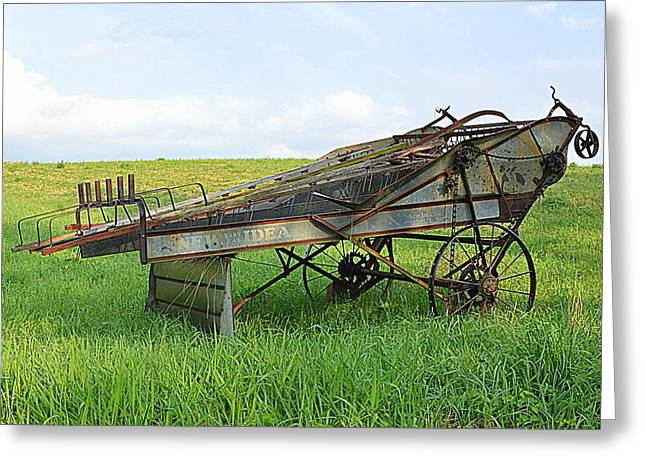 Amish Harvester Greeting Card by Joel E Blyler