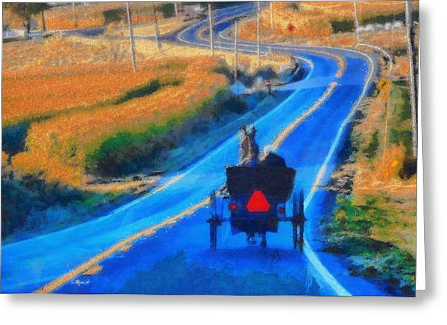 Amish Horse And Buggy In Autumn Greeting Card by Dan Sproul