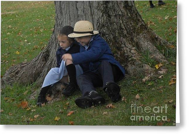 Amish Kids Greeting Card by R A W M