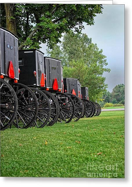 Amish Parking Lot Greeting Card by Pamela Baker