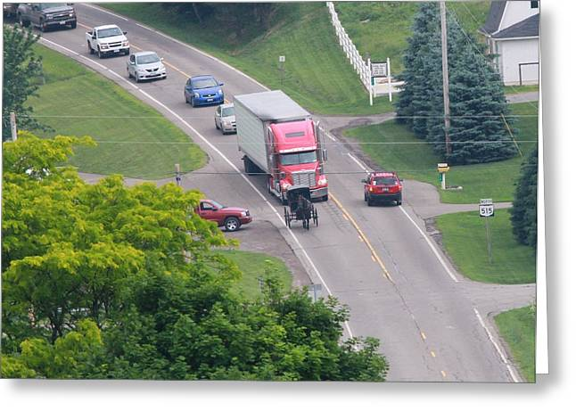 Amish Traffic Jam Greeting Card by Dan Sproul
