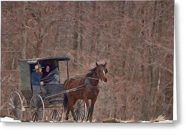 Amish Travels Greeting Card by Joe Granita