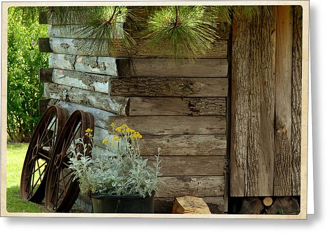 Amish Wood Shed Greeting Card by Lena Wilhite