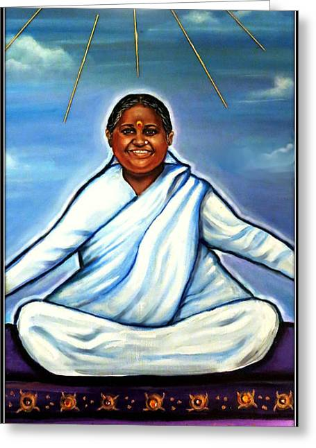 Amma -the Hugging Saint Greeting Card by Carmen Cordova