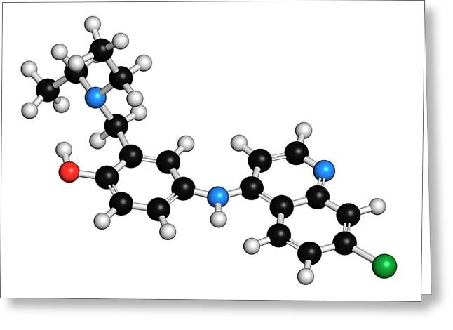 Amodiaquine Anti-malarial Drug Molecule Greeting Card by Molekuul