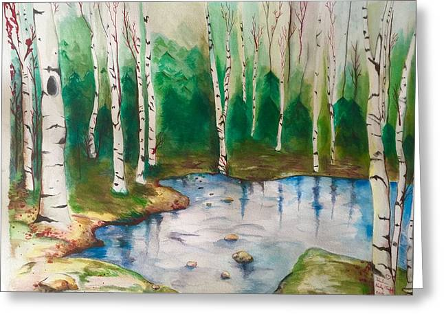 Among Birch Trees Greeting Card by Tomislav Neely-Turkalj